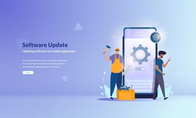 Software-update oder reparatur von software für mobile anwendungen nach baner-konzept Premium Vektoren