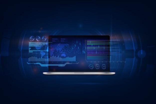 Software, webentwicklung, programmierung. abstrakte programmierung und programmcode auf bildschirm laptop Premium Vektoren