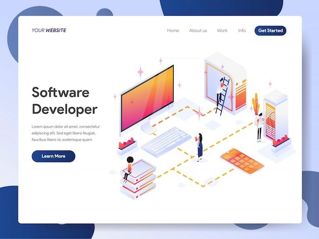 Softwareentwickler banner der landingpage Premium Vektoren
