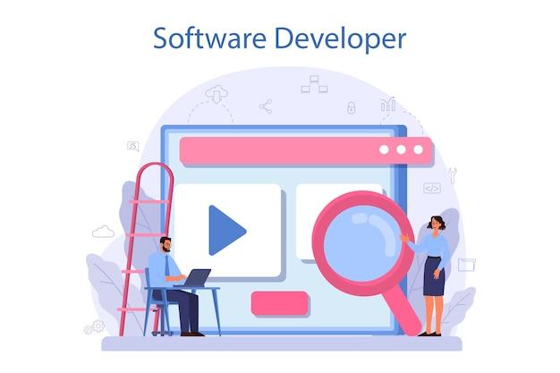 Softwareentwicklerkonzept Premium Vektoren