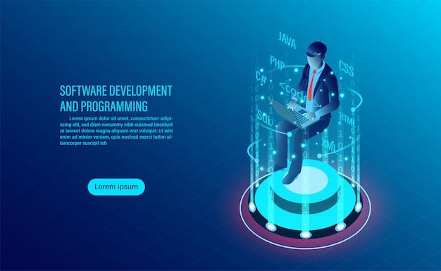 Softwareentwicklung und codierung. programmierung des konzepts. datenverarbeitung. computercode mit fensterschnittstelle. Premium Vektoren