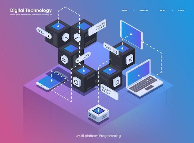 Softwareentwicklung und programmierung. kreatives programm oder systemprozess codieren. flache isometrische darstellung. Premium Vektoren