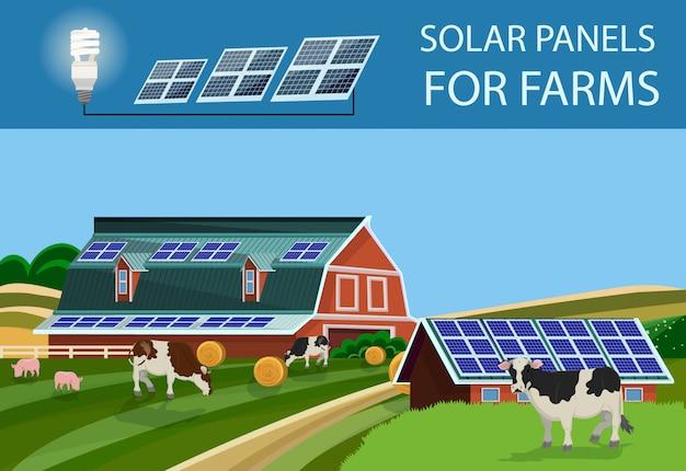 Solarbatterien für den bauernhof Premium Vektoren