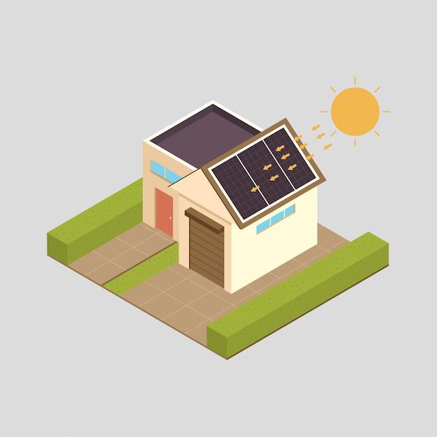 Solarenergie-konzeptillustration mit haus. Premium Vektoren