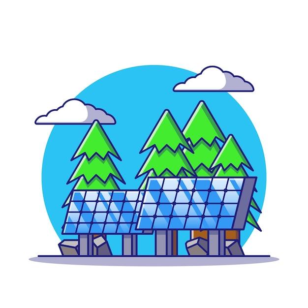 Solarpanel der erneuerbaren energie an land mit flacher karikaturillustration des hintergrunds im freien isoliert Premium Vektoren