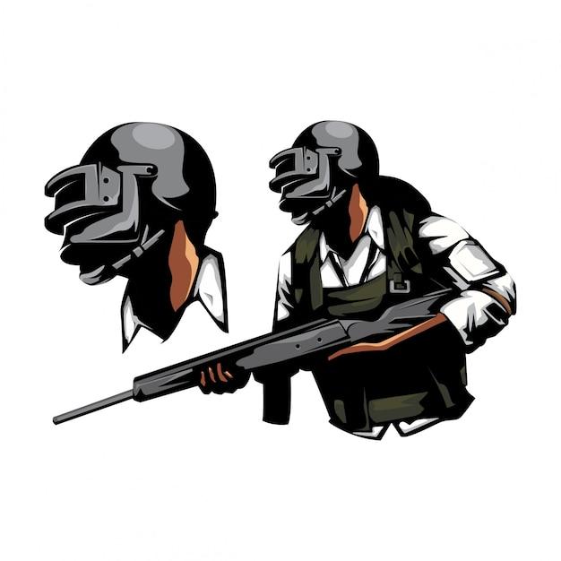 Soldat mit riffelpistole Premium Vektoren