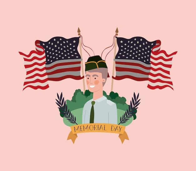 Soldat mit uniform auf dem gebiet mit usa-flaggen gekreuzt Premium Vektoren