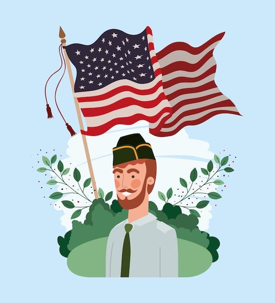 Soldat mit usa-flagge auf dem gebiet Premium Vektoren
