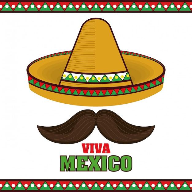 Sombrero-plakatikone viva mexiko Premium Vektoren