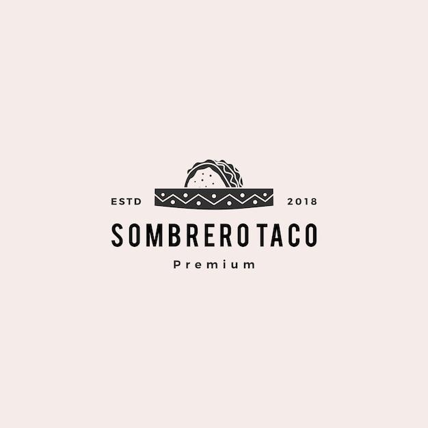 Sombrerohut-taco-logovektor-ikonenillustration Premium Vektoren