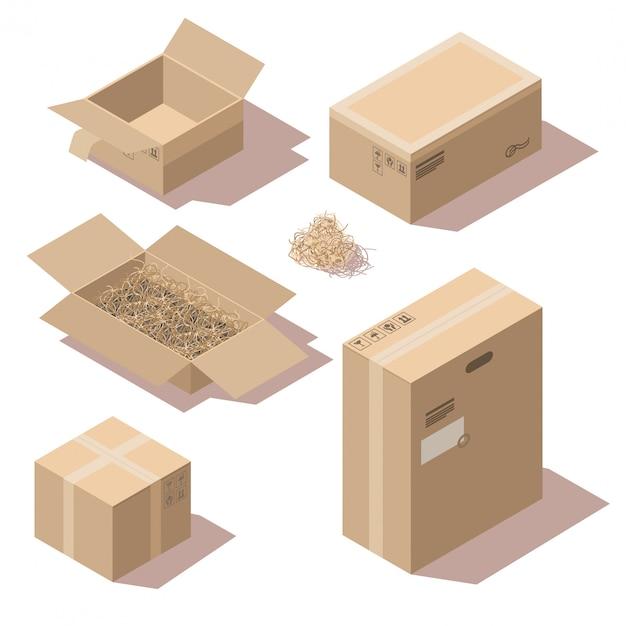Sometric braune pappzustellpaketkästen Kostenlosen Vektoren
