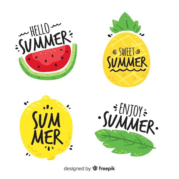 Sommer-abzeichen-sammlung Kostenlosen Vektoren