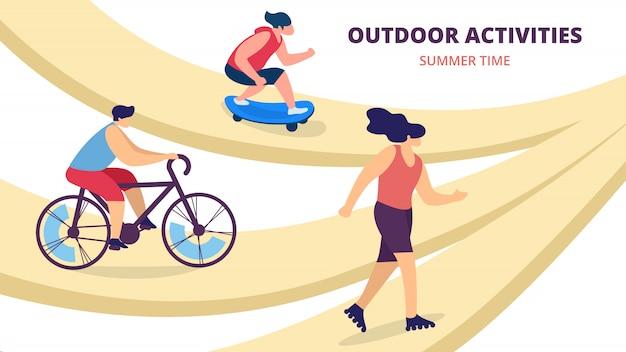Sommer aktivitäten im freien, jugendliche reiten fahrrad, skateboard roller, skaten. sport, jugendkultur, ferienfreizeit der jungen leute, freizeit-karikatur-flache vektor-illustration, horizontale fahne Premium Vektoren