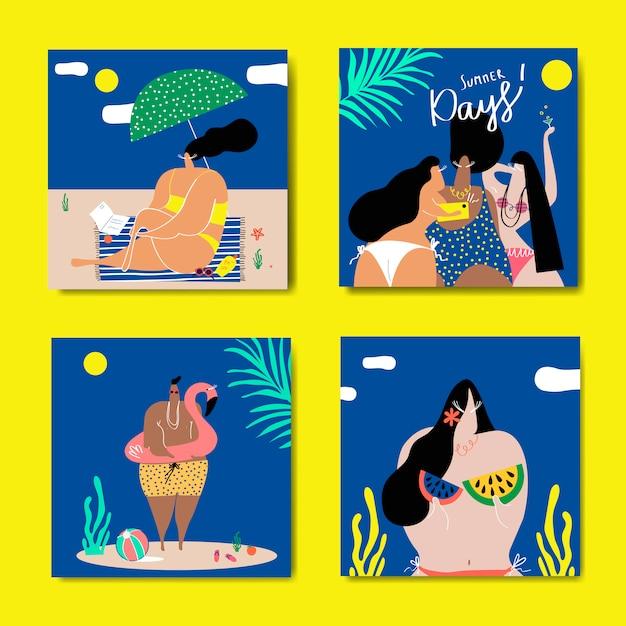 Sommer am strand eingestellt Kostenlosen Vektoren