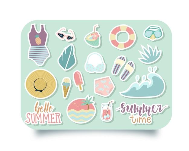 Sommer-aufkleber-set Premium Vektoren