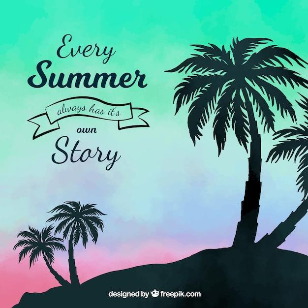 Sommer backgroud mit sonnenuntergang- und palmeschattenbild Kostenlosen Vektoren