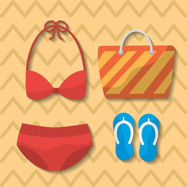 Sommer badeanzug bikini tasche flip flops tasche Kostenlosen Vektoren