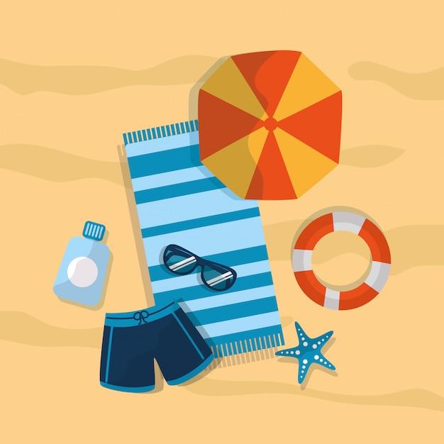 Sommer badeanzug regenschirm strand sonnenbrille sunblock seestern handtuch Kostenlosen Vektoren