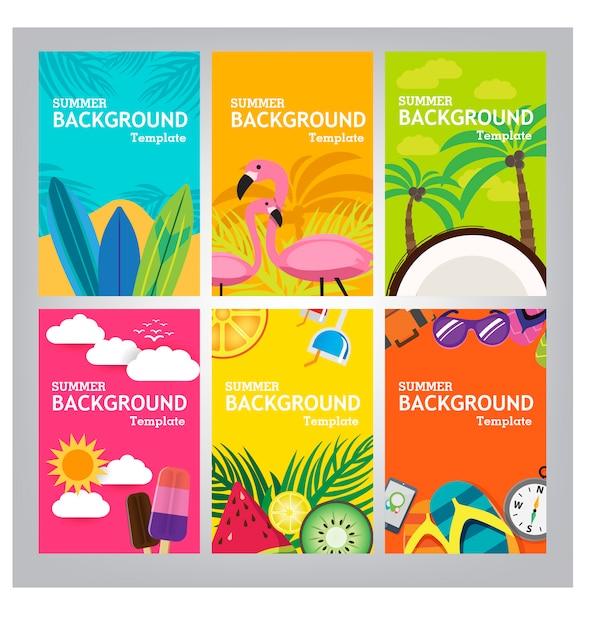 Sommer banner vorlage auf farbigem hintergrund. Premium Vektoren