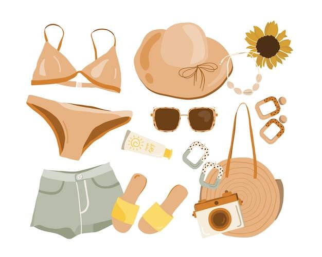 Sommer boho outfit set. Premium Vektoren