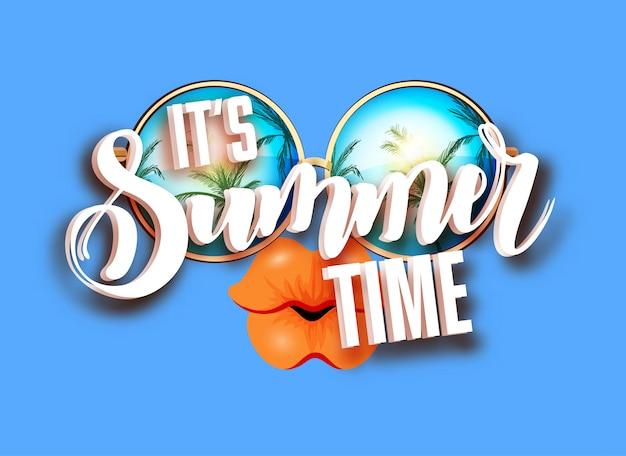 Sommer-briefgestaltung mit sonnenbrillen Premium Vektoren