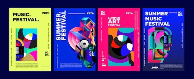 Sommer-buntes kunst-und musikfestival-plakat und abdeckung Premium Vektoren