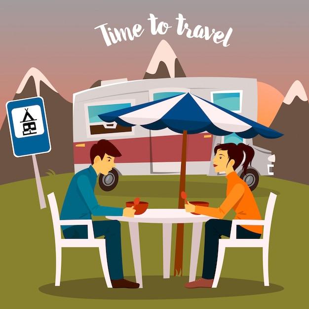 Sommer camp. mann und frau sitzen in der nähe des wohnmobils. zeit zu reisen. vektor-illustration Premium Vektoren