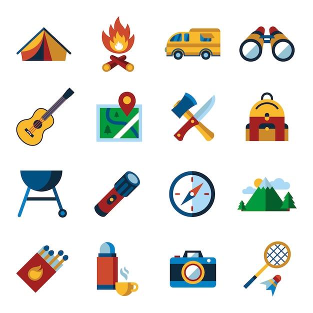 Sommer camping sport aktivitäten icons sammlung Premium Vektoren