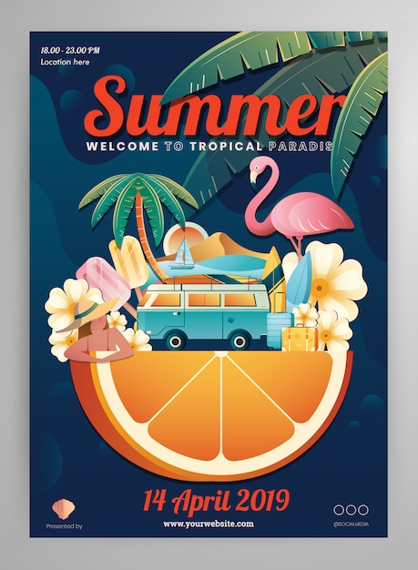 Sommer element poster layout Premium Vektoren