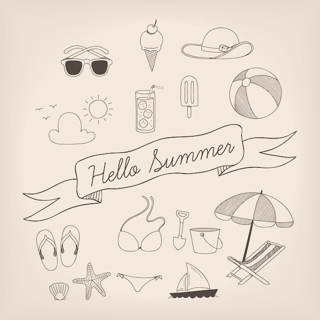 Sommer-Elemente-Sammlung Kostenlose Vektoren
