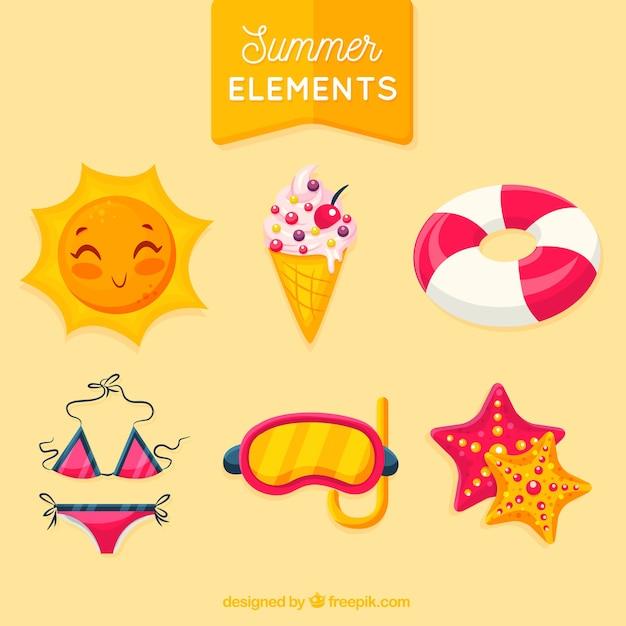 Sommer-elemente-sammlung Kostenlosen Vektoren
