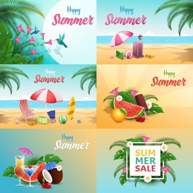 Sommer entspannen sich die eingestellten fahnen Premium Vektoren