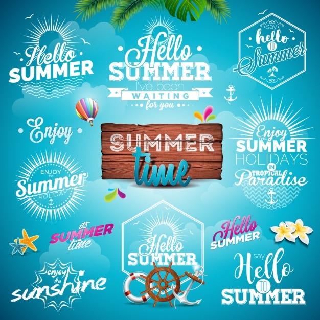 Sommer entwirft kollektion Kostenlosen Vektoren