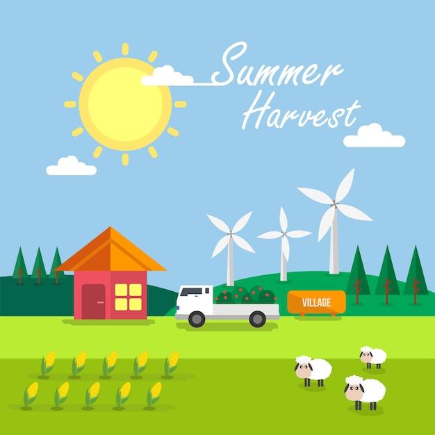 Sommer ernte hintergrund design Kostenlosen Vektoren