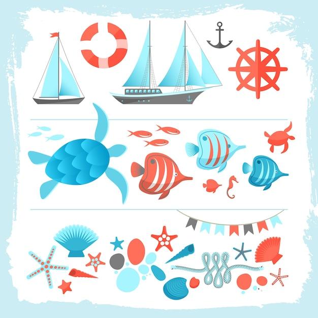 Sommer farbige illustration gesetzt mit yachtausrüstung segelboot ankerseil meeresschildkröte seestern Kostenlosen Vektoren