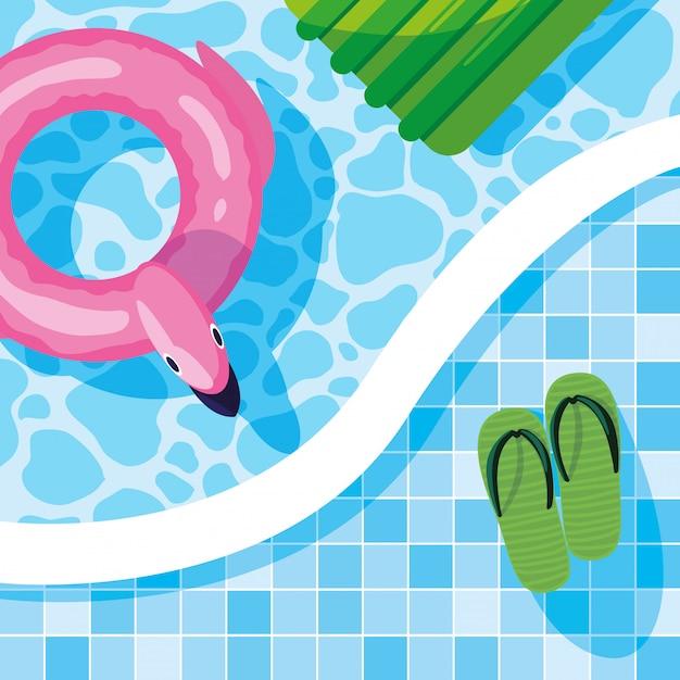 Sommer flamingo schweben Premium Vektoren