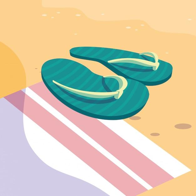 Sommer flip flops über handtuch Premium Vektoren