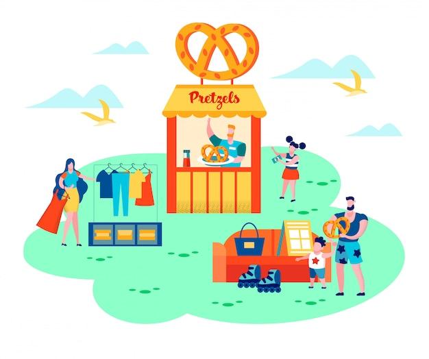 Sommer flohmarkt. fröhliches familienwochenende Premium Vektoren