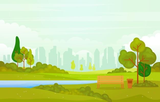 Sommer-frühlings-ansicht in stadt-park-landschaftsflache illustration im freien Premium Vektoren