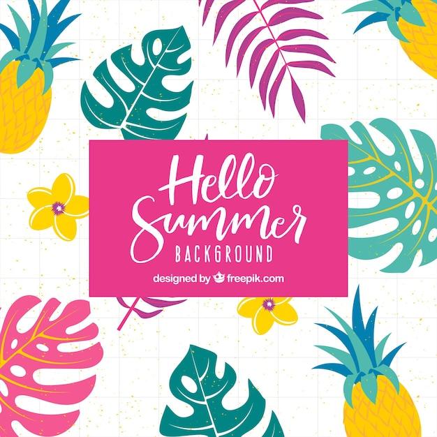 Sommer hintergrund mit ananas Kostenlosen Vektoren