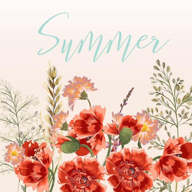 Sommer hintergrund mit blumen Premium Vektoren