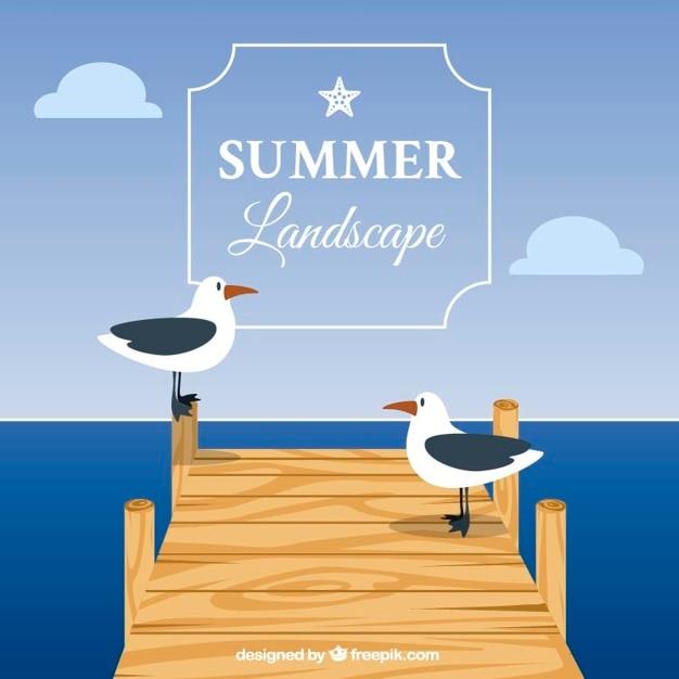 Sommer-hintergrund mit möwen auf dem pier Kostenlosen Vektoren
