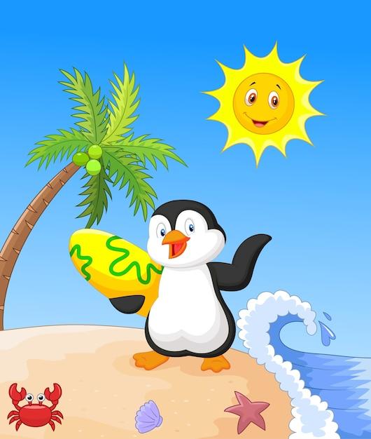 Sommer hintergrund mit pinguin Premium Vektoren