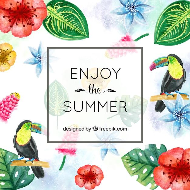 Sommer hintergrund mit tropischen blumen und aquarell blumen Kostenlosen Vektoren