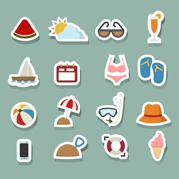 Sommer-icons gesetzt Premium Vektoren