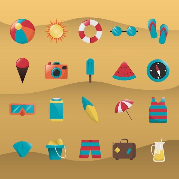 Sommer-ikonen-sammlung Kostenlosen Vektoren