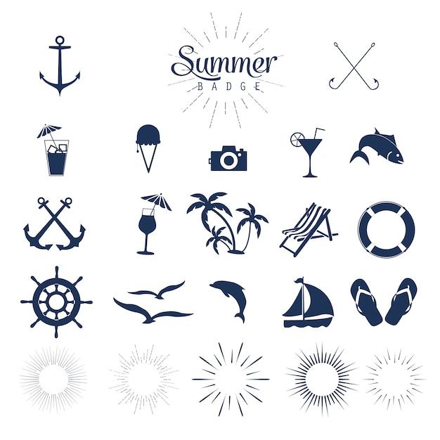 Sommer-ikonen Kostenlosen Vektoren