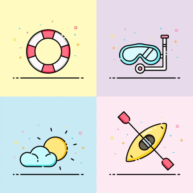 Sommer-ikonensammlung in pastellfarbe Premium Vektoren
