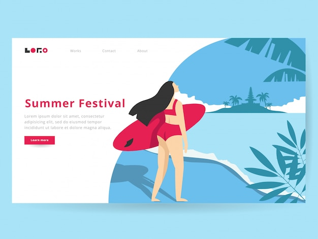 Sommer illustration für landing page Premium Vektoren