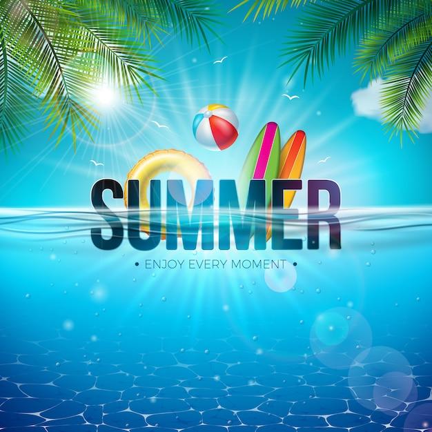 Sommer-illustration mit wasserball und blauer ozean-unterwasserlandschaft Premium Vektoren